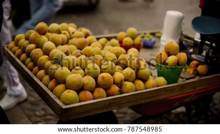 Organic peaches at the market