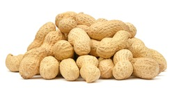 Organic peanuts in shell isolated on white background. Heap of peanut closeup