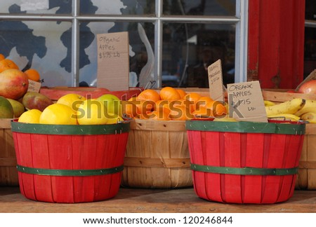 Organic produce in baskets, for sale outdoors