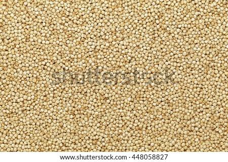 Organic Quinoa (Chenopodium quinoa) seeds Macro close up background texture. Top view.