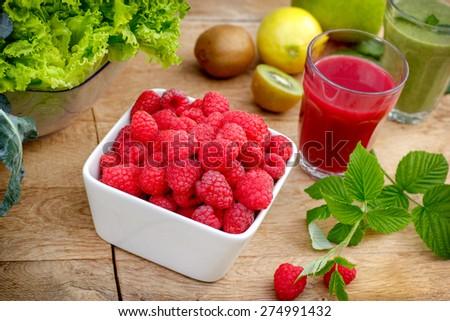 Organic raspberry, smoothie of raspberry and green smoothie (raspberry juice)