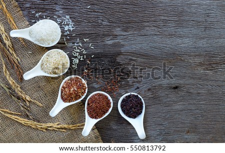 Organic rice, Mixed rice and Rice texture for background #550813792