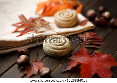 Organic snail soap, round shape soap bar with autumn orange and red  leaves background, autumn natural soap concept, in dark key, top view , close up