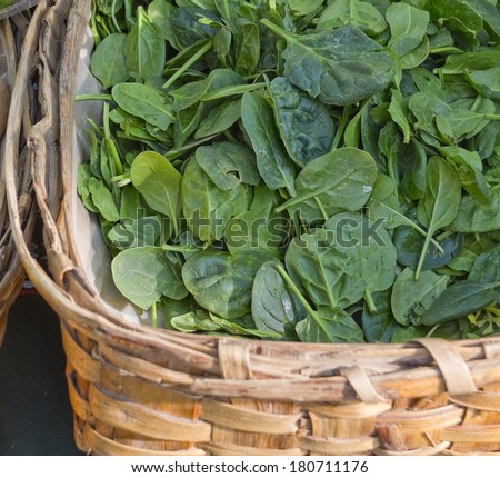 Organic spinach in a market