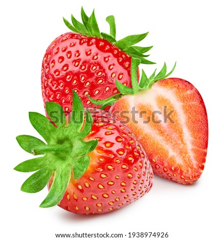 Organic strawberry isolated on white background. Taste strawberry with leaf with clipping path