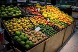 Organic tropical exotic fruits on display in a supermarket. Food store. Bananas, pitahayas, guavas, granadilla, tree tomatoes, passion fruit. Organic food. Beautiful image.