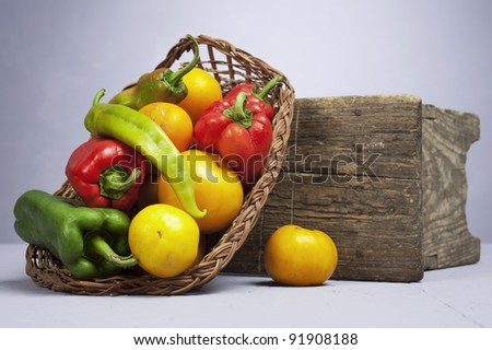 Organic vegetables in a studio set up