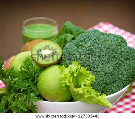 Organic vegetables in the green smoothie