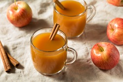 Organic Warm Refreshing Apple Cider Juice with a Cinnamon Stick