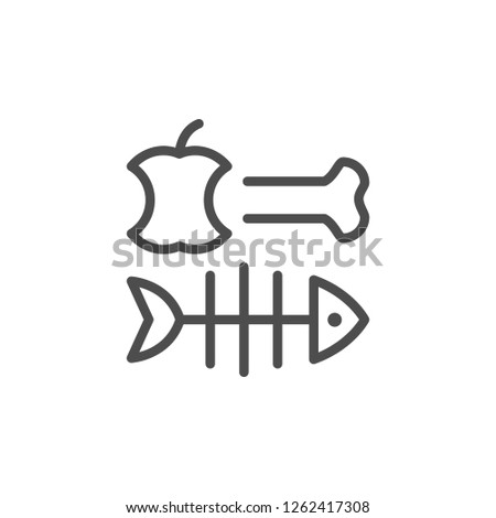Organic waste line icon isolated on white