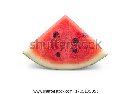 Organic watermelon in a piece triangle shape on white isolated background with clipping path. Ripe red watermelon have sweet taste and juicy for refreshing in summer. Delicious fresh fruit concept. Zdjęcia stock ©