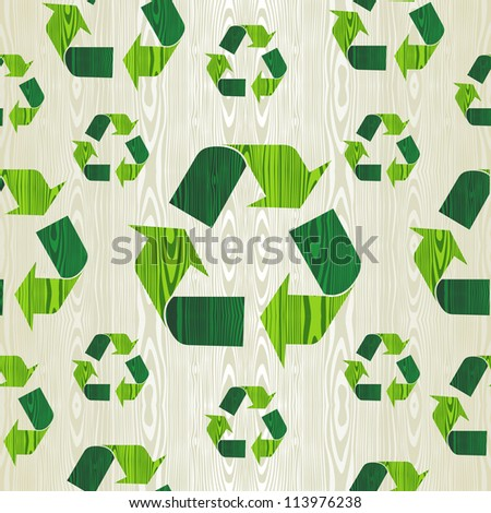 Organic wood with recycle arrows shape concept seamless pattern background.