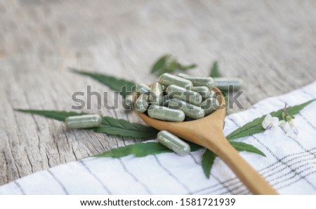 Organics herbal medicine from organic herb cannabis leaf on wooden table for healthy eating in daily life