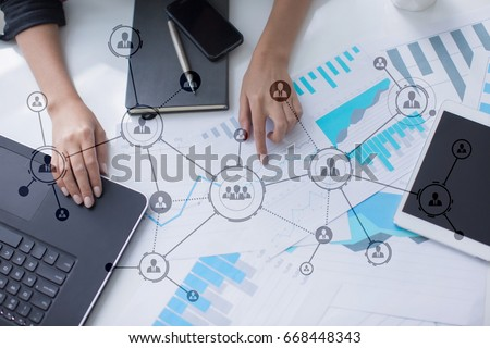 Organisation structure. People's social network. Business and technology concept. Stock photo ©