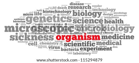 Organism science info-text graphics and arrangement concept on white background (word cloud)