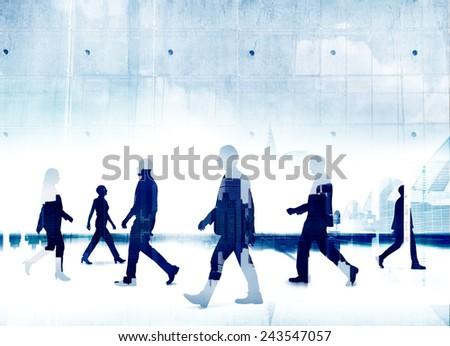 Organization Business People Commuter Silhouette Walking Office Building