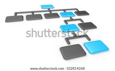 Organization Chart. Classic Organization Chart. Matte black and blue, Business presentation series.