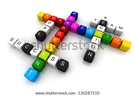 Organization Management colorful box Crossword 3D render