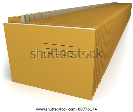 Organized folders in a row, Over white background, Clipping path included.