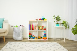 Organized space with children's toys and books