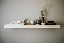 Organized storage tablewear apartment shelve