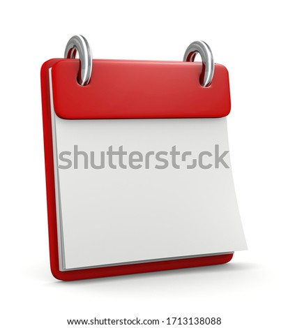 organizer calendar red 3d illustration