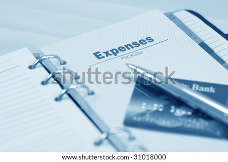Organizer, pen and credit card (blue toned)