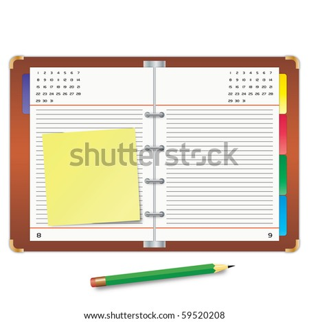 Organizer with the yellow sticky note and green pencil