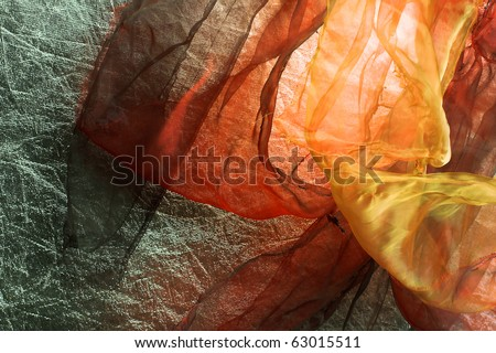 Organza. Light silk fabric of different colors. Background.