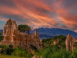 Orgues d'Ille sur Tet nature park with sunset light and clouds, Languedoc-Roussillon, France