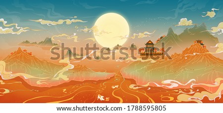 Oriental ancient landscape painting, classical painting