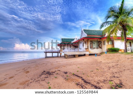 Oriental architecture holiday house on the beach of Thailand