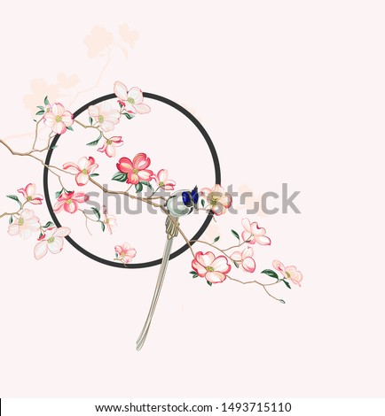 Oriental art, new Chinese style, highlights the Oriental classical culture,flowers and birds