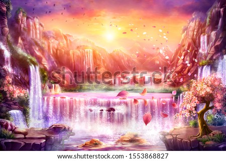 Oriental background, digital art. Illustration of a dawn mountain fantastic landscape with waterfalls and blooming sakura