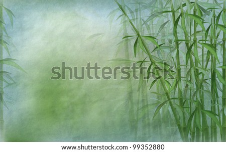 oriental background with bamboo stalks in shades of blue and green - old paper texture