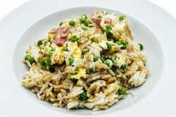 Oriental cantonese rice in a white plate