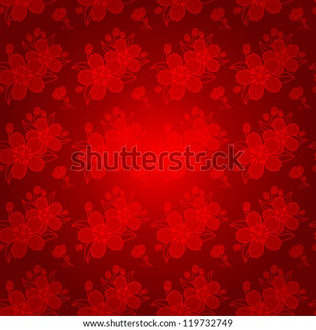 Oriental Chinese New Year Cherry Blossom Seamless Pattern - stock photo