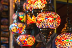 Oriental colorful glass hanging lamps or lanterns artistic selective focus background