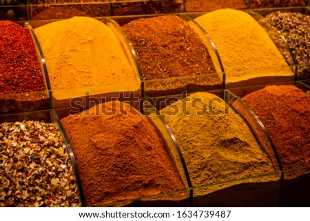 Oriental  colorful spices in a traditional Turkish Spice Bazaar