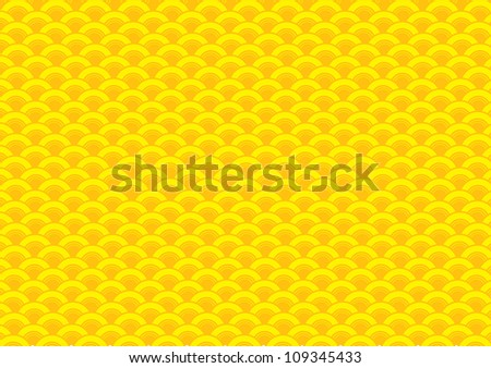 Oriental curve wave yellow background.
