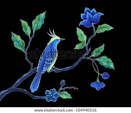 oriental floral design background, decorative blue bird hand painted illustration, butterfly, songbird, Asian flowers and leaves, exotic nature clip art