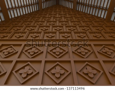 Oriental flower pattern wooden chocolate wall interior design, create by 3D #137113496