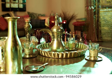 oriental living room: serving tea