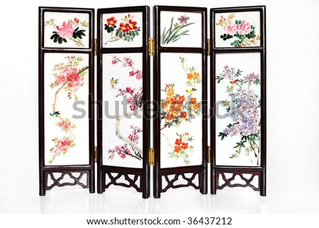 Oriental Mini Folding Screen with reflection