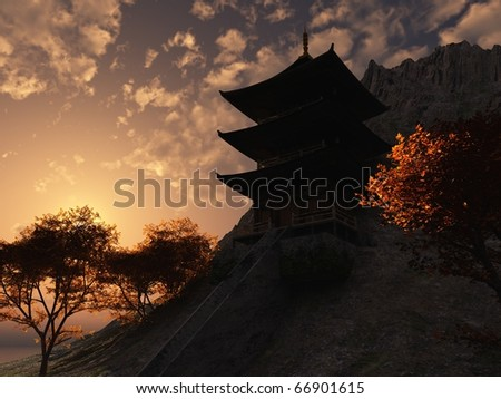 Oriental mountain temple at dawn