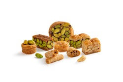 Oriental nice Mixed Baklava sweets isolated on a white background