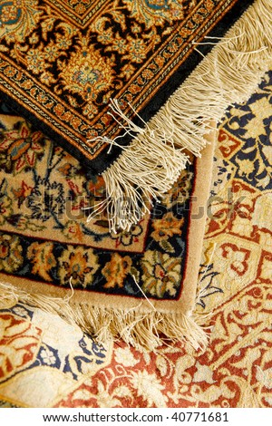 Oriental ornate carpet. Persian hand made