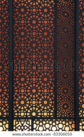Oriental patterns Silhouette with bright red back light