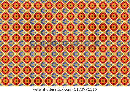 Stock Photo Oriental seamless pattern - korean, japanese or chinese traditional ornament in orange, green and blue colors. Vector background illustration.