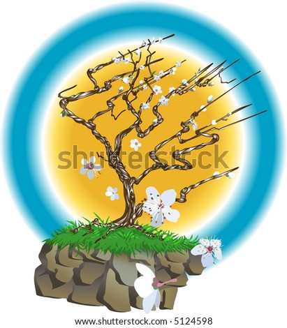 Oriental style blossom tree. An oriental style blossom tree on a wind swept cliff top with blossom flowers bowing about. Raster version